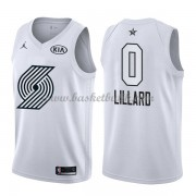 Portland Trail Blazers Damian Lillard 0# Vit 2018 All Star Game NBA Basketlinne..